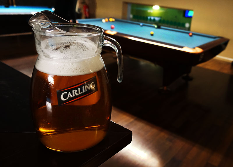 Four Pint Jug Of Carling For 163 12 Hurricane Room Pool