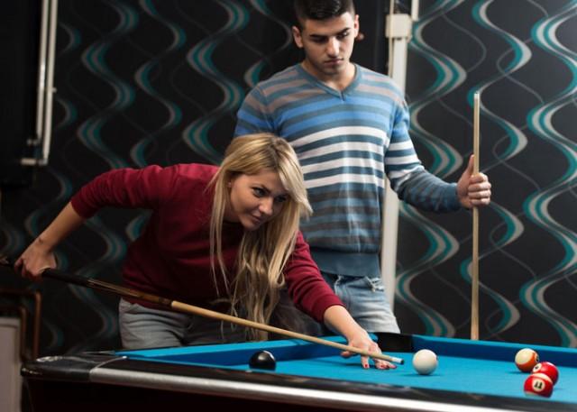 Students play pool london
